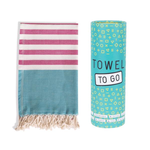 Towel to Go Neon Hamamtuch Fuchsia/Türkis Tuch und Box