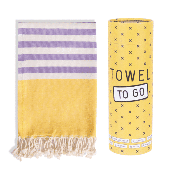 Towel to Go Neon Hamamtuch Gelb/Lila Box Geschenkbox und Tuch