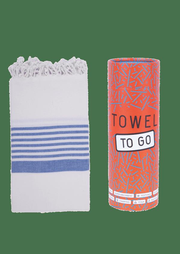 Towel to Go Madagaskar Hamamtuch White/Blue
