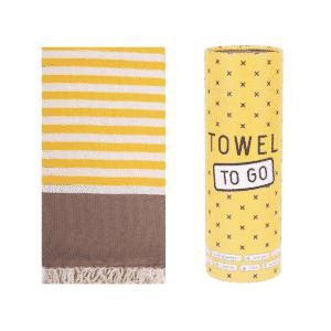 Towel to Go Neon Hamamtuch Braun/Gelb
