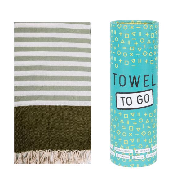 Towel to Go Neon Hamamtuch Grün mit Box
